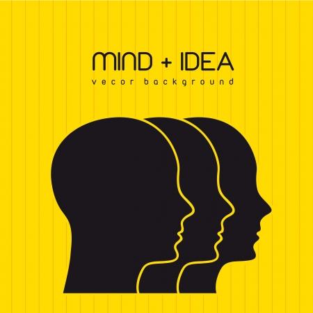 intellect: silhouette profilo del viso su sfondo giallo. illustrazione vettoriale