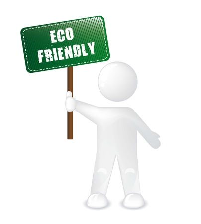 eco friendly announcement with white men. vector illustration Vector