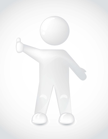 white man with thumb up over gray backgroud. vector illustration Vector