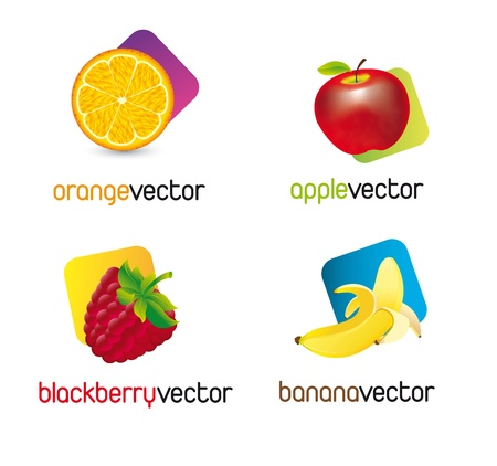 fruited: fruits with square over whtie background. vector illustration