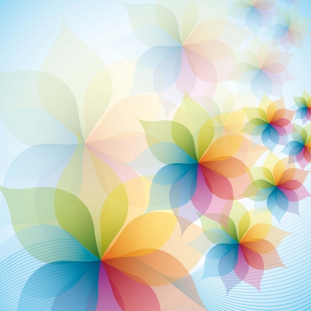 colorful flowers over blue background. vector illustration Vector
