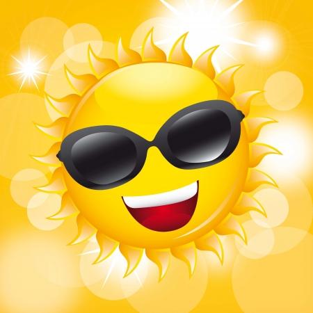 soleil avec des lunettes de soleil sur fond jaune. illustration vectorielle