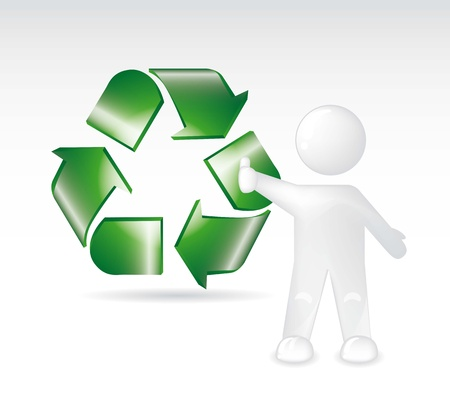 green recycle sign with white man ove gray background. vector  Vector
