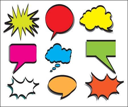 bande dessin�e bulle: Annonce multiple de couleurs. Illustration Vecteur