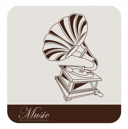 Old gramophone musical. Vector illustration Vector
