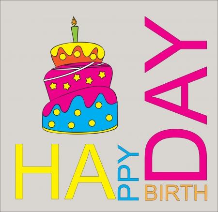 persona alegre: Tarjeta con una torta de cumpleaños