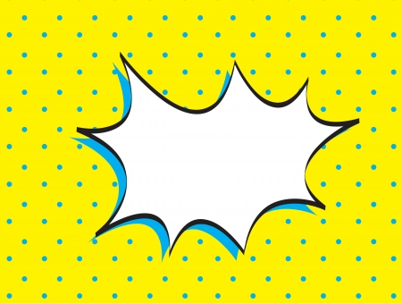 Bubble comic over yellow and blue background