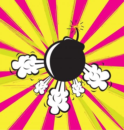 g�lle: Bombenexplosion in gelb und lila Hintergrund