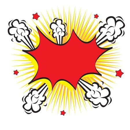 explosion: Bubble-Comic in Explosion auf wei�em Hintergrund