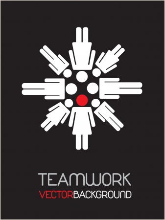 Teamwork with a leader over black background Stock Vector - 14654903
