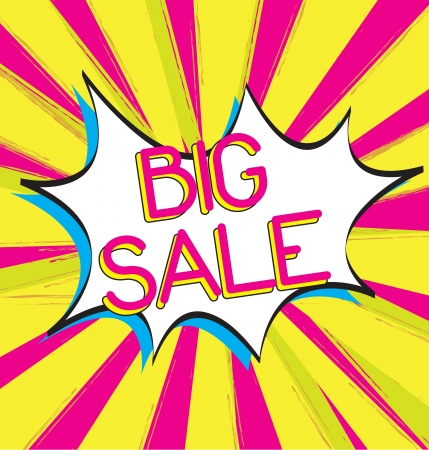 Bubble comic of big sale  over yellow and pink background Vector