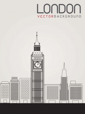 big ben tower: image of the city of London. Vector illustration