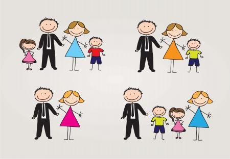 papa y mama: diferentes tipos de familia. ilustraci�n vectorial Vectores