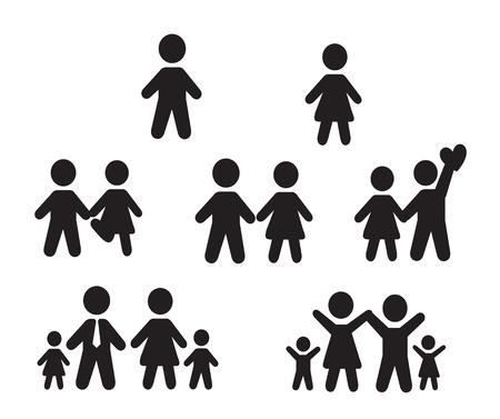 Icons set de personnes sur fond blanc