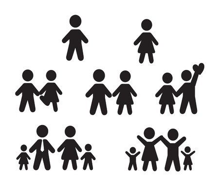 character abstract: Icons set people over white background