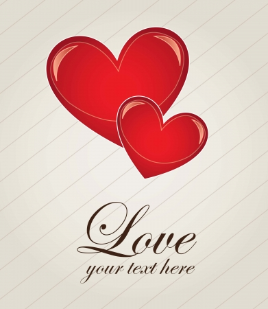 love cute: Two hearts of love over white background Illustration