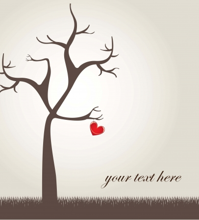 Beauty love card with a heart and tree Vector
