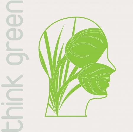 Face green over white background illustration Stock Vector - 14751300