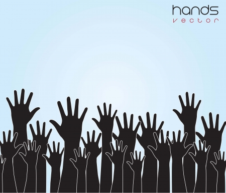Many hands up over blue background Vector