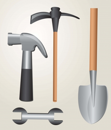 Different tools works construction over white background Vector