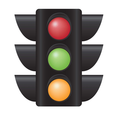 traffic light with all colors over white background Vector
