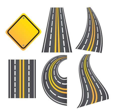 roads in different ways with a road sign  Stock Vector - 14751282