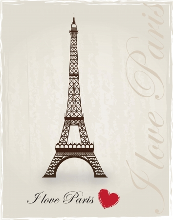eiffel tower: Torre Eiffel como un signo de amor a Par�s Vectores