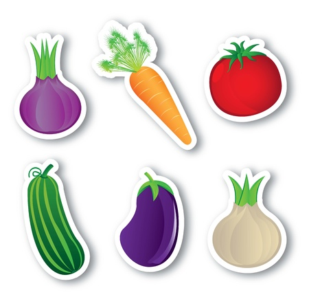 kitchen garden: group of different vegetables over white background