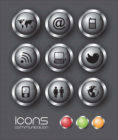 Communication icons over black background illustration Vector