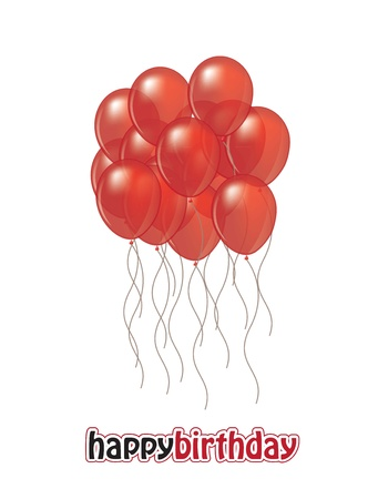 red balloons in the card of happy birthday Stock Vector - 14751476