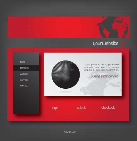 website design in red, white  and black Vector