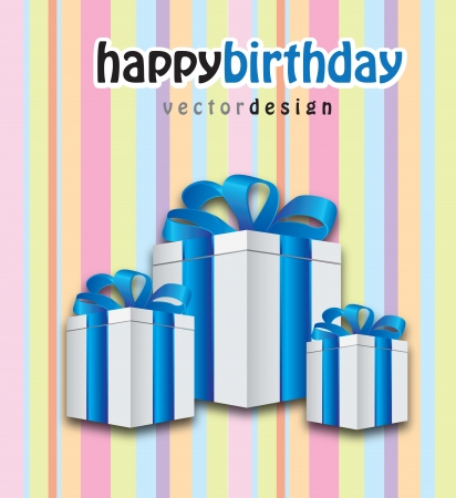 three gifts with blue ribbon in a beautiful birthday card  Vector