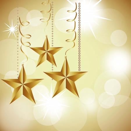 handing: christmas stars on abstract white lights background. illustration