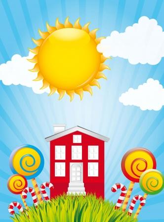 casita de dulces: dulce hogar sobre paisaje de hierba y cielo ilustraci�n