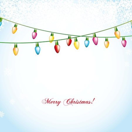 string of christmas lights: christmas balls over blue background with snowflakes. illustration