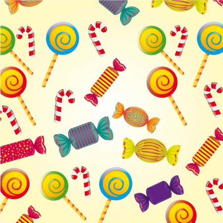 beautiful candies over yellow background. illustration
