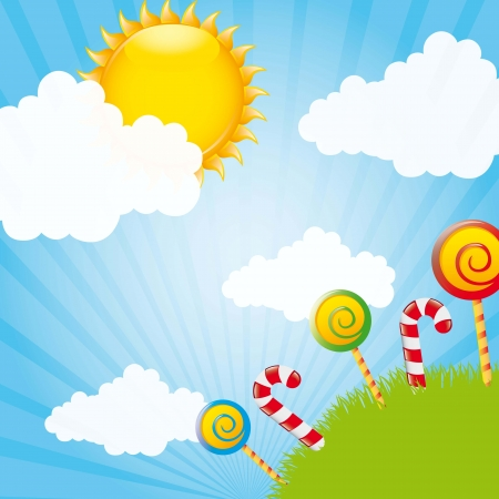candies over grass and sky with clouds and sun. illustration Stock Vector - 14751763