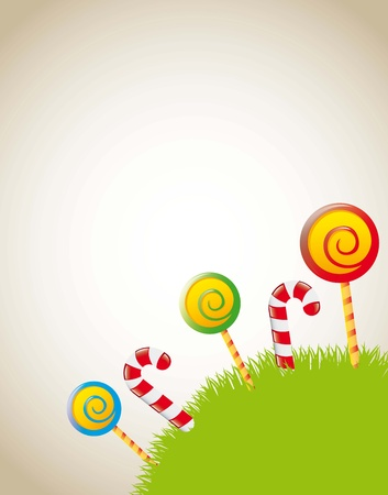 candies over grass with space for copy. vector illustration Vector