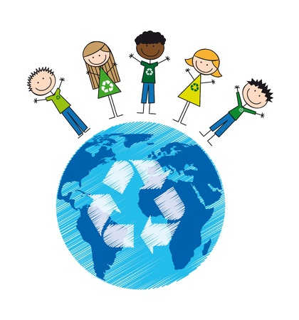 children over planet with recycle sign, drawing. illustration Vector