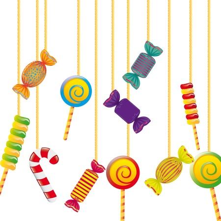caramelos navidad: caramelos colgando de la cuerda sobre fondo blanco. ilustraci�n vectorial