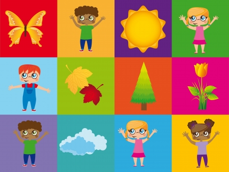 childrend with summer elements over colorful squares. Stock Vector - 14751671