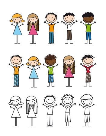 line drawings: children drawing isolated over white background. vector Illustration