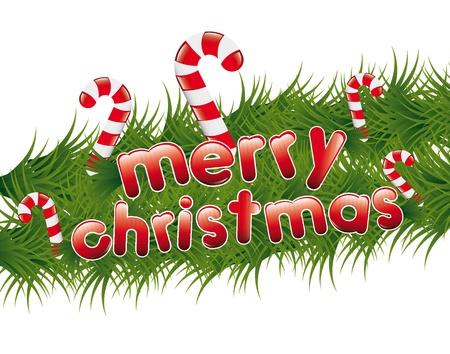merry christmas text: christmas garland with merry christmas text. vector illustration Illustration