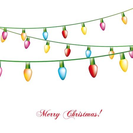 christmas lights: luci di Natale isolato su sfondo bianco. illustrazione Vettoriali