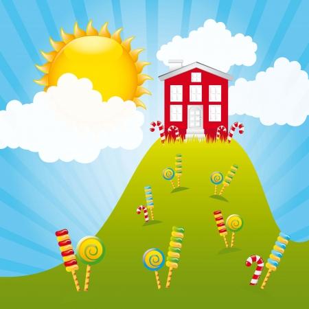 candy mountain avec la maison et le ciel. illustration Vecteurs