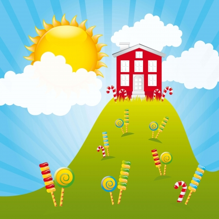 candy mountain with house and sky. illustration Vector