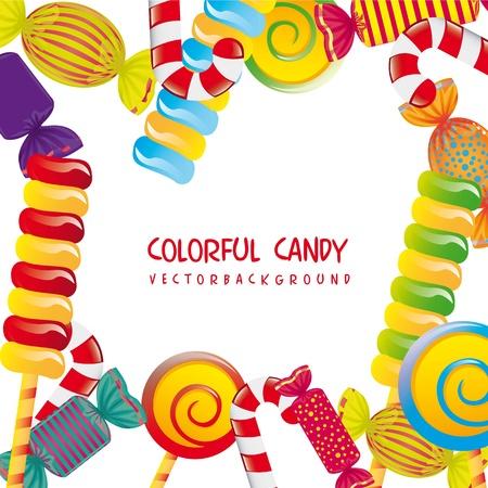 caramelos navidad: caramelos de colores sobre fondo blanco. ilustraci�n vectorial