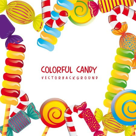 schaalbaar: kleurrijke snoepjes op een witte achtergrond. vectorillustratie Stock Illustratie