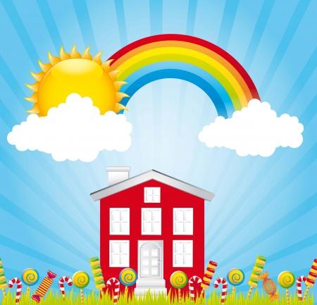 schöne Landschaft mit Süßigkeiten und Regenbogen. Abbildung Illustration