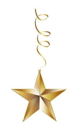 Kerst ster geà ¯ soleerd op een witte achtergrond. vector illustratie